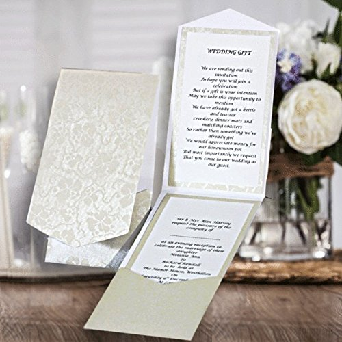Hakana ritratto Pocketfold Invitations Bright White Broderie vintage floreale in