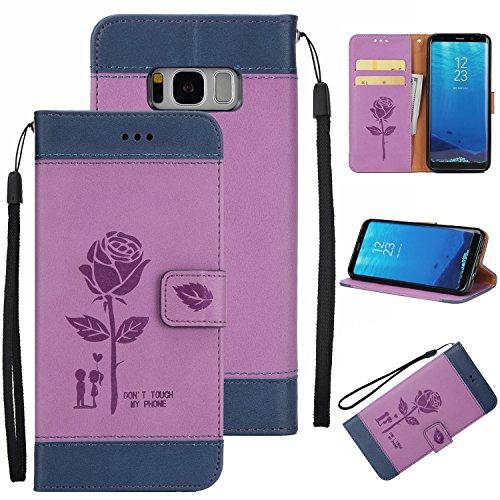 Ecoway Para Samsung Galaxy S8 Plus Funda, Amantes de Rosa(Púrpura) PU Leather Cubierta , Función de Soporte Billetera con Tapa para Tarjetas Soporte para Teléfono