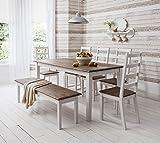 Noa and Nani Canterbury Tisch mit 4 Stühlen und Bank, dunkle Kiefer/Weiß