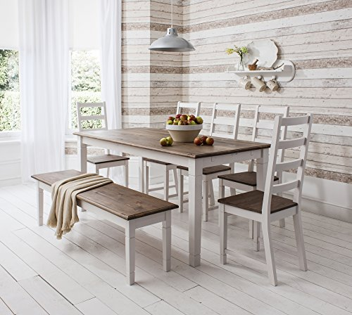 Dining Table And Chairs Canterbury White And Dark Pine: Canterbury Dining Table With 4 Chairs And 1