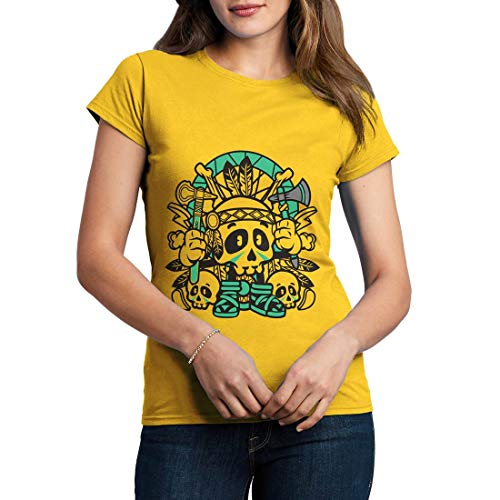 C154WCNTY Damen T-Shirt Indian Skull American Indian Chief Spirit Warrior Axe Wild Free Bike Motorcycle Heritage Vintage Tattoo(Small,Yellow) American Heritage 8