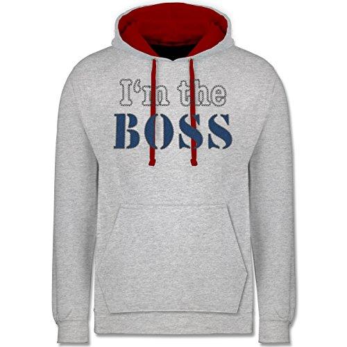 Statement Shirts - I'm the Boss - wie aufgenäht - Kontrast Hoodie Grau Meliert/Rot