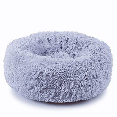 "Plush Donut Pet Bed,Dog Cat Round Warm Cuddler Kennel Soft Puppy Sofa, Cat Cushion Bed Sleeping Bag Orthopedic Relief and Improved Sleep,Anti-Slip Bottom,Machine Washable (L-23.6"" x 7.9"", Grey)"
