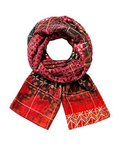 Desigual Damen Schal Foulard_Rectangle Boho, Rot (Carmin 3000), One Size (Herstellergröße: U)