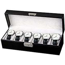 Amzdeal Black Faux Leather 6 Watch Display Storage Box Case 6 Grids Watch Box