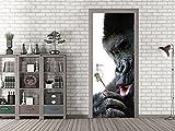 GRAZDesign Türfolie Gorilla mit Pusteblume - Türposter Zoo - Fototapete Zimmertür / 92x205cm / 791350_92x205