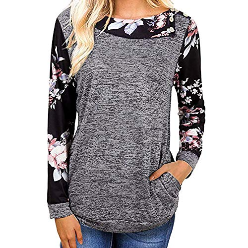 iHENGH Top Damen,Women Männer Herbst Frauen LäSsige Florale Druck Lange ÄRmel Pullover Bluse Hemd Sweatshirt Tops Bluse T Shirt Pullover Crop Tops Damen Mode
