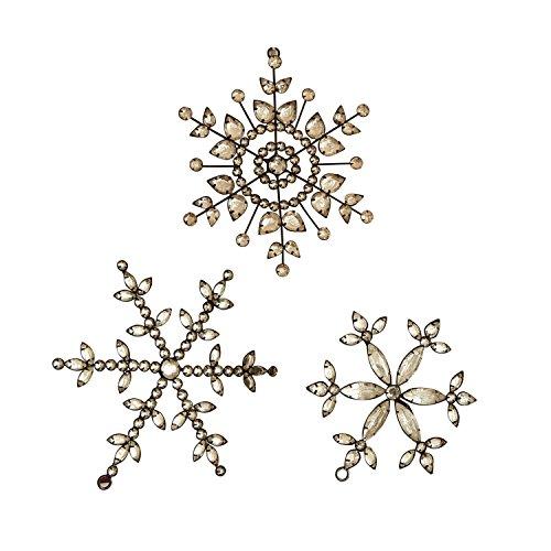 Loberon Weihnachtsschmuck 3er Set Holy Stars, Kupferdraht, Glas, B/T/Ø 16/16 / 16 cm, klar/schwarz