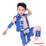 Wgwioo Costume De Danse De Jazz Moderne pour Enfants, Scène De Garçon, Paillettes, Hip Hop, Performance, Étudiants, Équipe De Groupe De Chorale, School Play Party Outfit, Blue, 120Cm