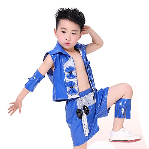Wgwioo Kinder Modernes Jazz Tanz Kostüm Junge Bühne Pailletten Hip Hop Performance Studenten Chor Gruppe Team School Play Party Outfit, Blue, 120Cm