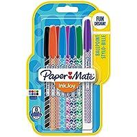 Paper Mate InkJoy 100 CAP Wrap Stylos-billes, Pointe Moyenne, Lot de 8 Couleurs