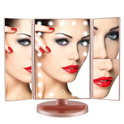 ISOLEM Tri-Fold LED Kosmetikspiegel, 1x/2x/3x Lupe Beleuchtete Make-up Spiegel mit USB und...