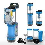 Intelishake - intelligente mehrkammer protein / training / saft shaker Trinkflasche (2 x 500ml) mit Wasser aktivkohlefilter für sport, bewegung und fitness-studio/gym - Zyklon blau