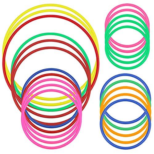 Hysagtek 21 Pcs Plastic Toss Ringe Karneval Ringe für Kinder Fun Target Toys, Quoits Ring Toss Spiel, Party Favor Games, Multicolor, 5 Größen