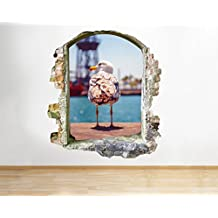 G360gabbiano uccello Ocean Coast Cool Smashed adesivo 3D Art stickers vinyl Room