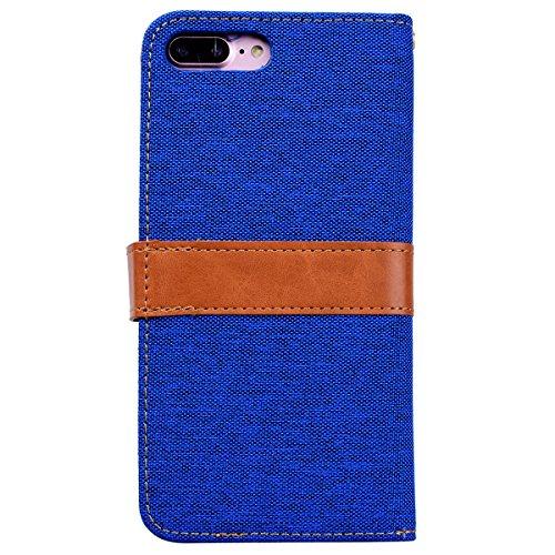 SMART LEGEND iPhone 7 Plus Hülle Ledertasche Schutzhülle Retro Lederhülle Scratch Ledercase Schale Umschlag Stil Wallet Flip Case Cover mit Weich Silikon Handyhülle für iPhone 7 Plus Tasche Standfunkt Blau