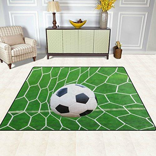 S&Y Teppiche Teppich Matte 4'x5', Sport Ball Fußball Fußball Polyester rutschfeste Wohnzimmer Esszimmer Schlafzimmer Teppich Eingang Fußmatte Home Decor (Fußball Zoll 5)