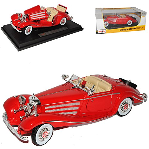 Mercedes-Benz 500K Typ Special Roadster Cabrio Rot 1936 1/18 Maisto Modell Auto