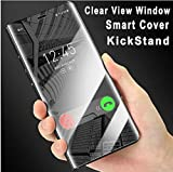 #3: MobiTussion Semi Clear View Smart Mirror Flip with Luxury Stand Cover Case for Samsung A8 Plus (Black)