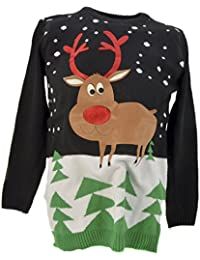 Christmas Jumpers. Cool Novelty Xmas MENS WOMENS UNISEX Sweaters Festive Santa (Medium, Rudolph The Red Nose Reindeer)