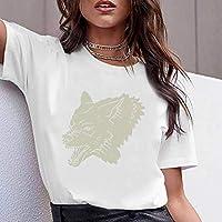 JUSTTIME Camiseta Estampada Blanca para Mujer Camisa de Manga Corta Jersey de Manga Corta Cuello Redondo Camiseta de Algodón de Algodón Camiseta de VeranoComo se muestra, m
