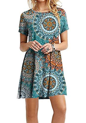 eid Kurzarm Kleid Gedruckt Shirtkleid Basic Mini Tunikakleid Blusenkleid,Blauer Jahresring,S ()