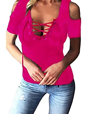 Juleya Camiseta mujer mangas cortas Blusas mujer Camisa Casual Sling Top sexy escote en V profundo Blusa flaca...