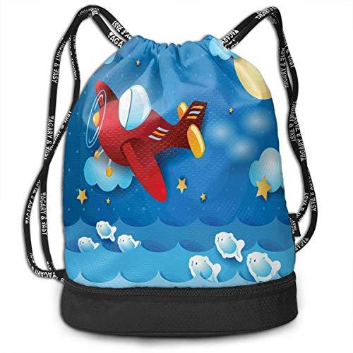 werert Airplane The Moon The Stars Jumping Fish Picknick Beutel Turnbeutel Sporttasche für Herren Damen -