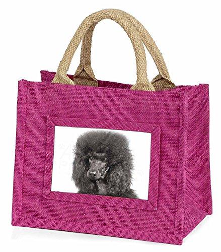 Schwarzer Pudel Hund Kleine Mädchen rosa Einkaufstasche (Schwarz Mini Pudel)