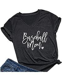 Wyxogncuw Camisetas Estampadas de béisbol para mamá, Camisetas Estampadas de Manga Corta con Cuello en