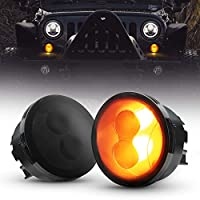 ضوء إشارة الانعطاف LED أمامي لايت واي متوافق مع سيارات Jeep Wrangler JK 2007-2016 أضواء رفرف جانبية صانع وقوف السيارات