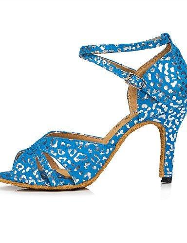 ShangYi Chaussures de danse(Bleu / Blanc) -Personnalisables-Talon Aiguille-Flocage-Latine / Moderne White