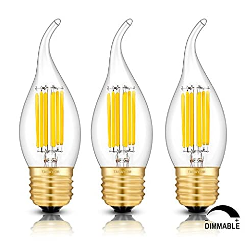 TAMAYKIM 6W Dimmable LED Filament Candle Light Bulb, 4000K Neutral White 650LM, E27 Chandelier Base Lamp, C35 Flame Shape Bent Tip, 65W Incandescent Equivalent, 3