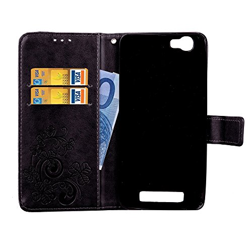 Double Magnetic Back Sucktion Retro Style PU Leder Flip Stand Case mit Kickstand und Wallet Beutel Funktion für ZTE A610 ( Color : Rose ) Black