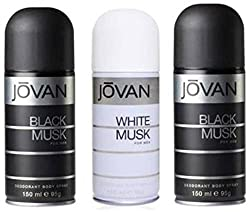 Jovan Black Musk and White Musk Body Spray - For Men (450 ml, Pack of 3)