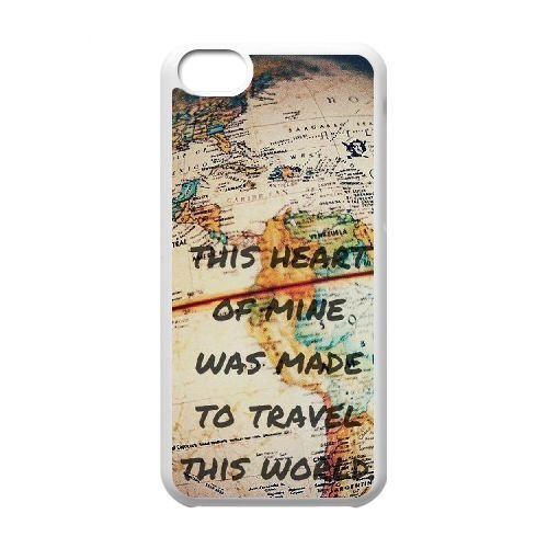 Travel Quote DIY Case Cover for Iphone 5C,Travel Quote custom case cover