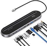 Jelly Comb USB C Docking Station, 12 in 1 USB C Hub mit HDMI, VGA, Typ C Hub Adapter, USB 2.0/3.0 PD,SD/TF Kartenleser, LAN, 3.5mm Audio für MacBook, Laptop, Tablet mit USB C Anschluss
