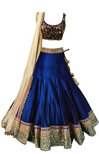 Clickedia Kids Heavy Bhagalpuri Silk Embroidered Sky Blue Lehenga with matching blouse pc - traditional wear ( 8-11 yrs)- Semi-Stitched alterable