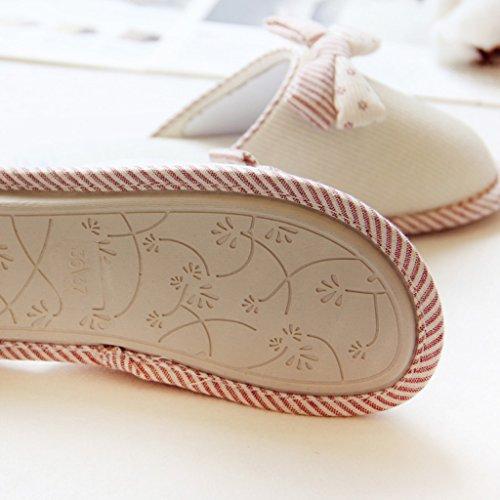 Fortuning's JDS Le donne delle signore delle ragazze semplice stile accogliente cotone Casa Calzature arco comodo Flatform pantofole Bianco