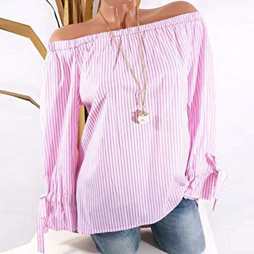 Blusa de Cuello Slash para Mujer, Manga Larga de Moda SunGren Blusa de algodón con Estampado de Rayas Camisas Atractivas de Hombro Tops(Rosa,XL)