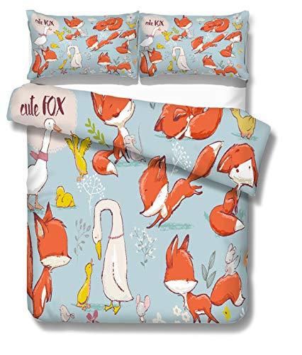 HB.YE Fox Single Duvet Cover Set...