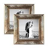 PHOTOLINI 2er Set Bilderrahmen 20x20 cm Silber Barock Antik Massivholz mit Glasscheibe und Zubehör/Fotorahmen / Barock-Rahmen
