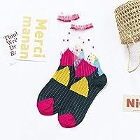 CYMTZ 5 Pares/Paquete Calcetines De Mujer Calcetines Coloridos De Verano para Mujer Calcetines Finos De Flores Y Frutas5