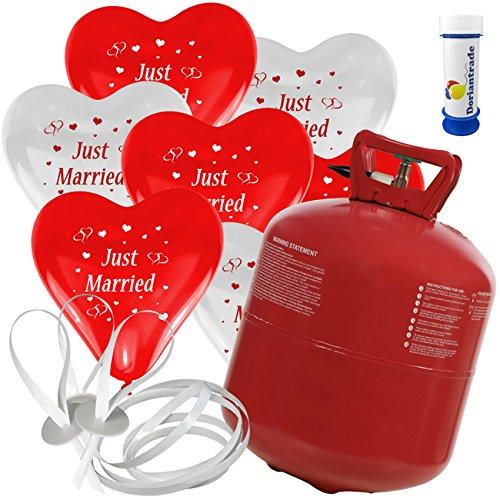 50 Herz Luftballons mit Helium Ballon Gas Motiv Just Married Hochzeit Valentinstag Komplettset + Gratis Doriantrade Seifenblasen (Rot/Weiß)