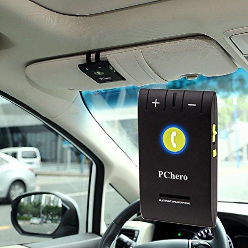 PChero senza fili Bluetooth 4.0 A2DP Multipoint Sun Visor vivavoce da auto Hands-Free con il caricatore dell'automobile del USB + clip per iPhone, LG, Google Nexus, smartphone Android - [Black]