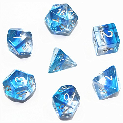 Flexble DND Polyedrischen Spielwürfel Würfel 7-Würfel-Sets Rollenspiel-Würfel für Dungeons und Dragons Pathfinder MTG D & D RPG Tabletopspiele Würfel-Set (Eiszapfen Blau)