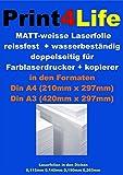 10 Blatt reissfeste + wasserfeste 2-seitig bedruckbare 140my Laser Kopierer Copy Folie matt weiß DIN A4 - Farb-Laser & Farb-Kopierer Beidseitig bedruckbare Polyesterfolie
