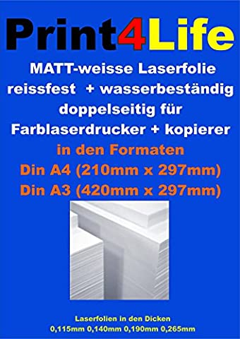 25 sheets of tear-resistant + water resistant 2-sided printable 0,190 mm Laser Copier Copy foil matt white
