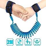 Correa de muñeca anti pérdida para bebé, cinturón de seguridad para caminar con velcro, ajustable, 2 m, arnés para caminar azul azul
