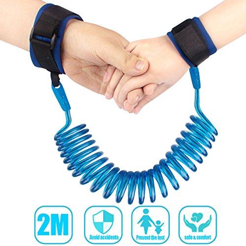 Kids Anti Lost Baby Child Walking Hand Wrist Strap Velcro Belt Wrist Link 2 m Adjustable Walking Harness (Blue)